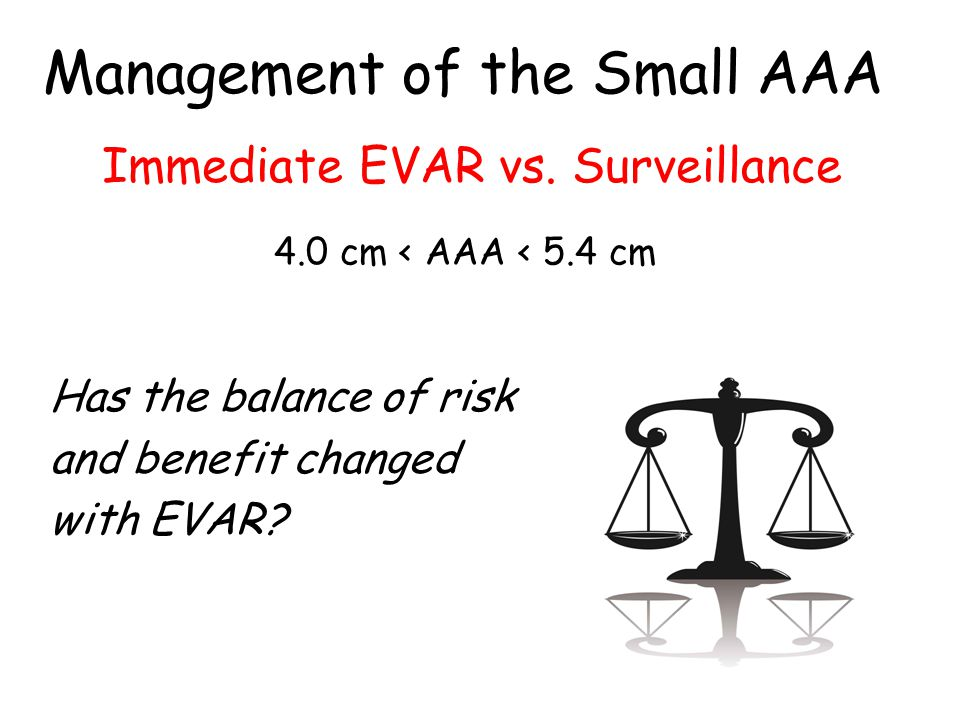 Has the balance of risk and benefit changed with EVAR.