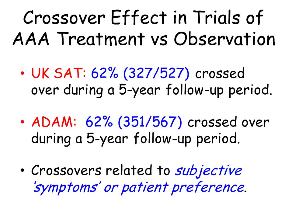 Crossover Effect in Trials of AAA Treatment vs Observation UK SAT: 62% (327/527) crossed over during a 5-year follow-up period.