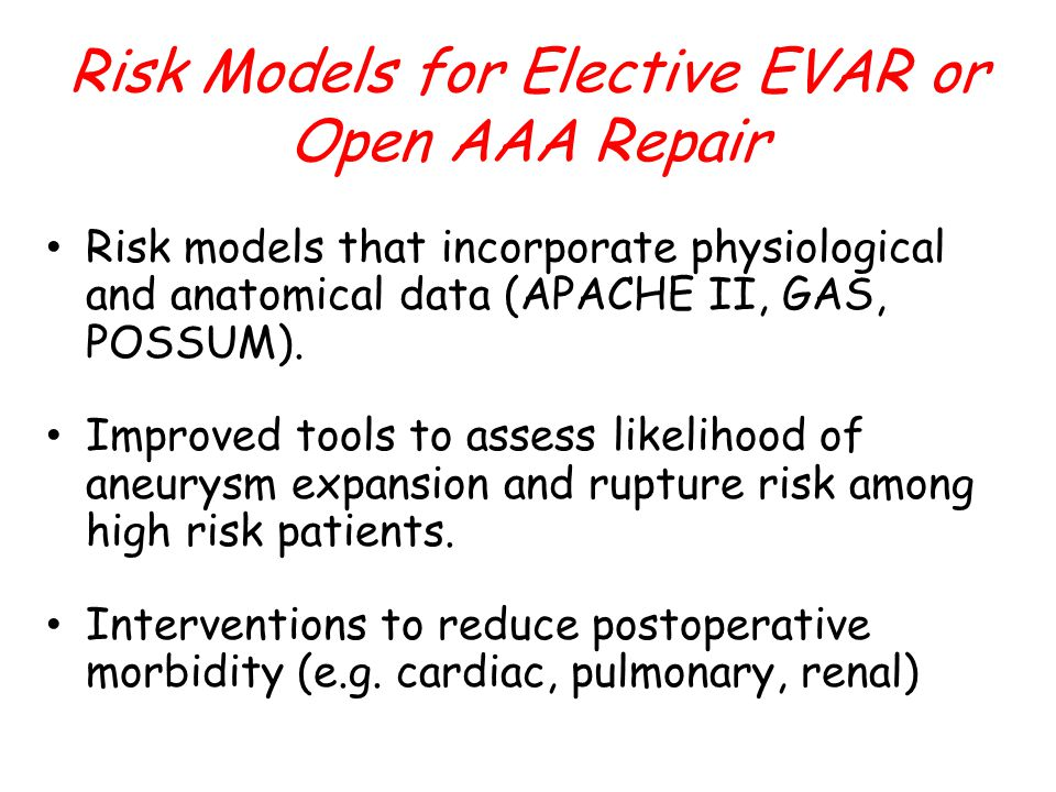 Risk models that incorporate physiological and anatomical data (APACHE II, GAS, POSSUM).