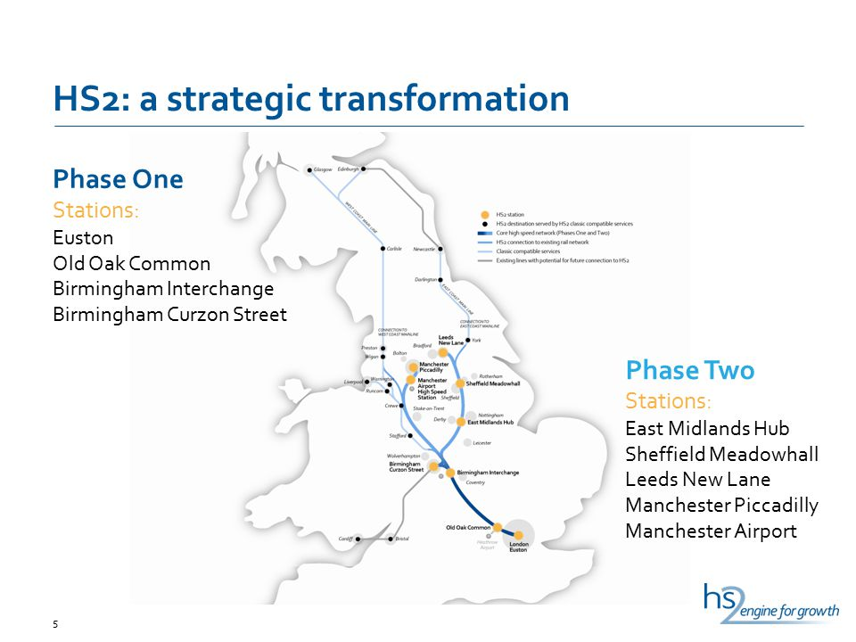 HS2: a strategic transformation 5 Phase One Stations: Euston Old Oak Common Birmingham Interchange Birmingham Curzon Street Phase Two Stations: East M