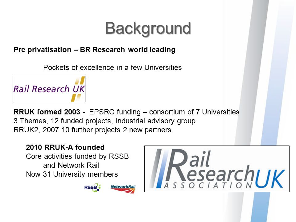 Background Pre privatisation – BR Research world leading Pockets of excellence in a few Universities RRUK formed 2003 - EPSRC funding – consortium of
