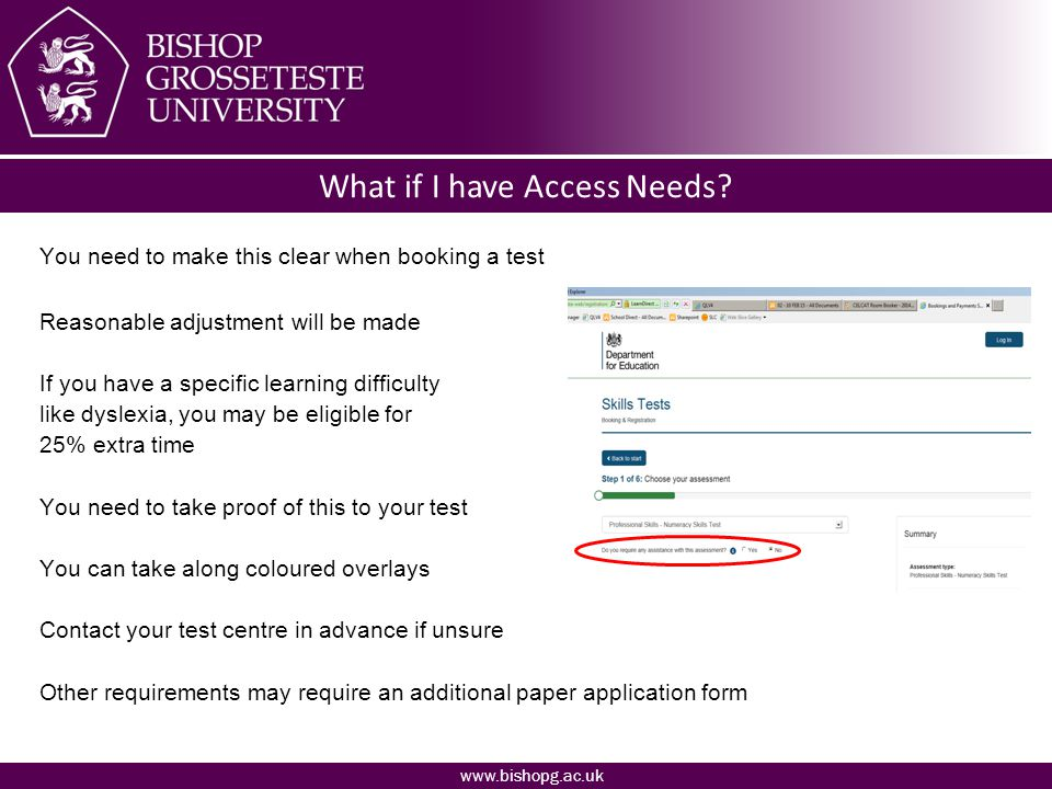 www.bishopg.ac.uk What if I have Access Needs.