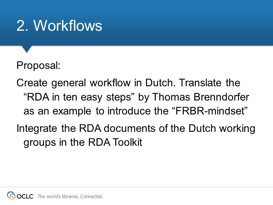 "The world's libraries. Connected. Proposal: Create general workflow in Dutch. Translate the ""RDA in ten easy steps"" by Thomas Brenndorfer as an exampl"