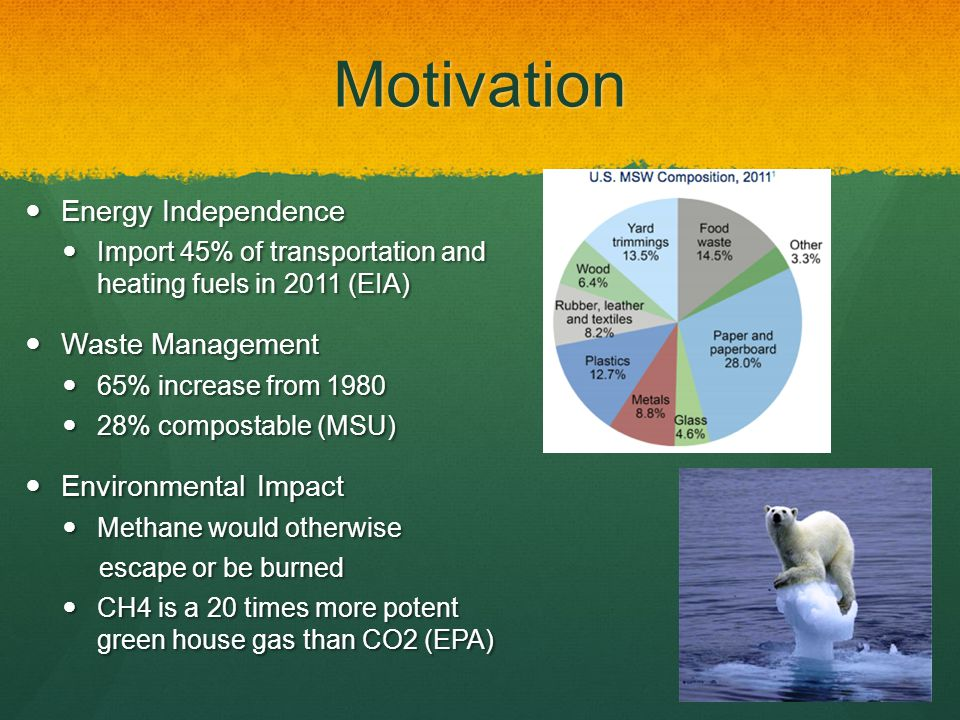 Motivation Energy Independence Energy Independence Import 45% of transportation and heating fuels in 2011 (EIA) Import 45% of transportation and heating fuels in 2011 (EIA) Waste Management Waste Management 65% increase from 1980 65% increase from 1980 28% compostable (MSU) 28% compostable (MSU) Environmental Impact Environmental Impact Methane would otherwise Methane would otherwise escape or be burned escape or be burned CH4 is a 20 times more potent green house gas than CO2 (EPA) CH4 is a 20 times more potent green house gas than CO2 (EPA)