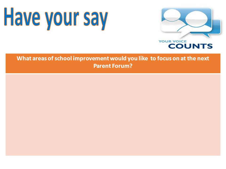 What areas of school improvement would you like to focus on at the next Parent Forum