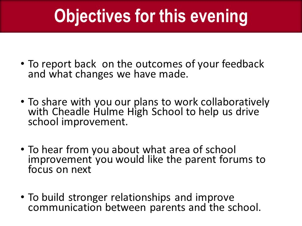 To report back on the outcomes of your feedback and what changes we have made.