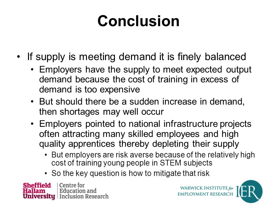 Conclusion If supply is meeting demand it is finely balanced Employers have the supply to meet expected output demand because the cost of training in
