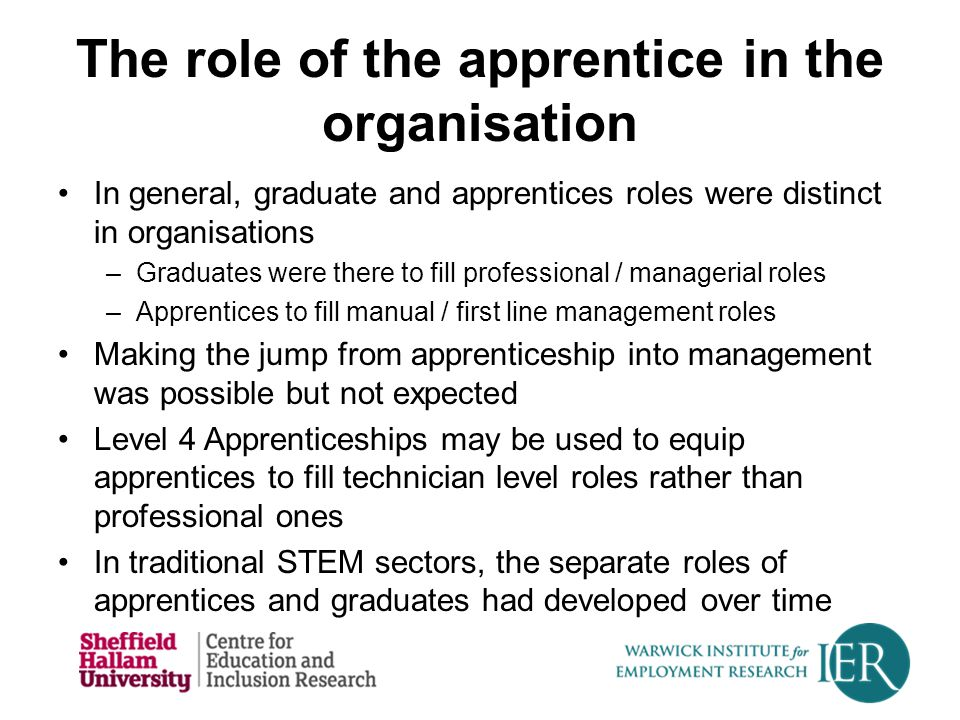 The role of the apprentice in the organisation In general, graduate and apprentices roles were distinct in organisations –Graduates were there to fill professional / managerial roles –Apprentices to fill manual / first line management roles Making the jump from apprenticeship into management was possible but not expected Level 4 Apprenticeships may be used to equip apprentices to fill technician level roles rather than professional ones In traditional STEM sectors, the separate roles of apprentices and graduates had developed over time