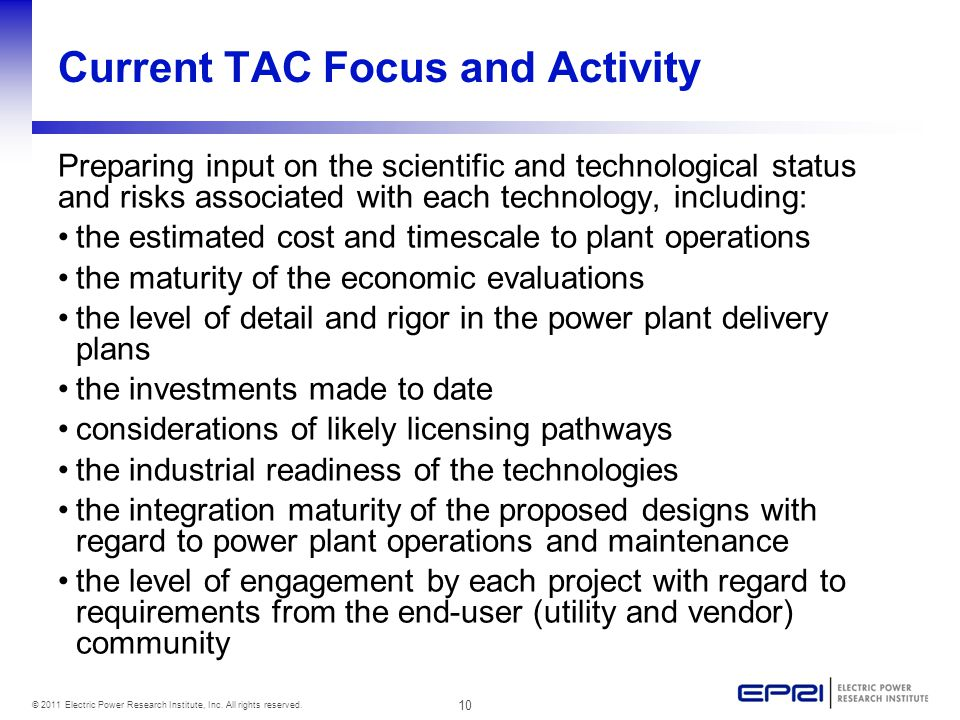 10 © 2011 Electric Power Research Institute, Inc. All rights reserved.