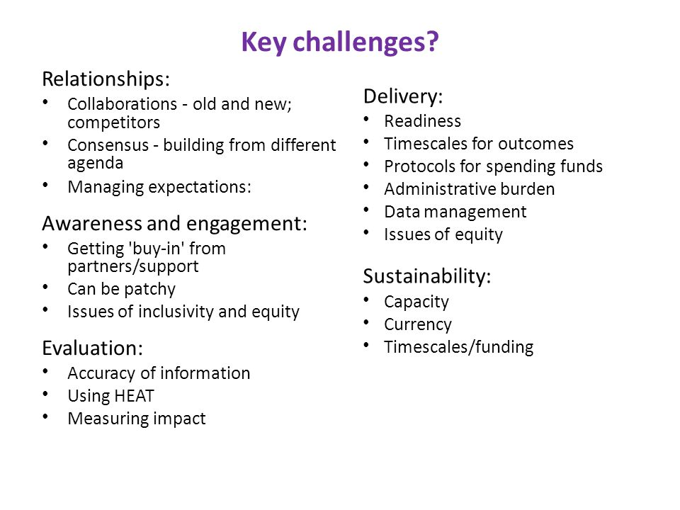 Key challenges.