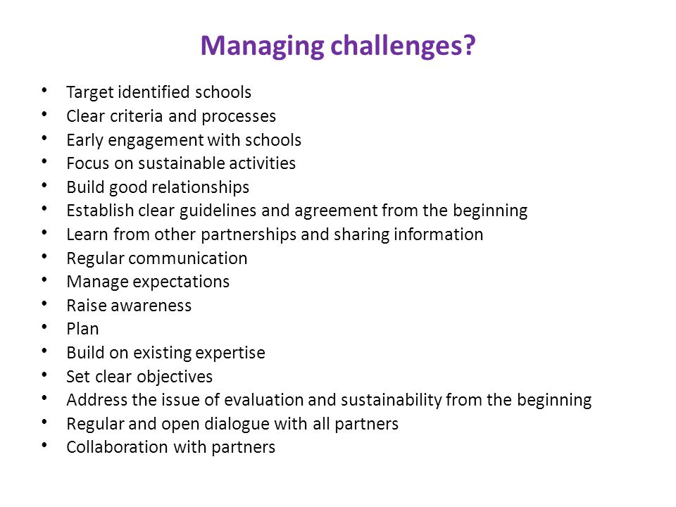 Managing challenges.