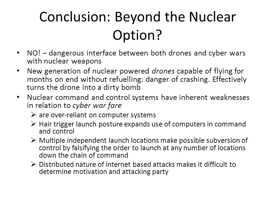 Conclusion: Beyond the Nuclear Option. NO.