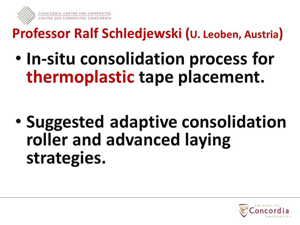 In-situ consolidation process for thermoplastic tape placement.