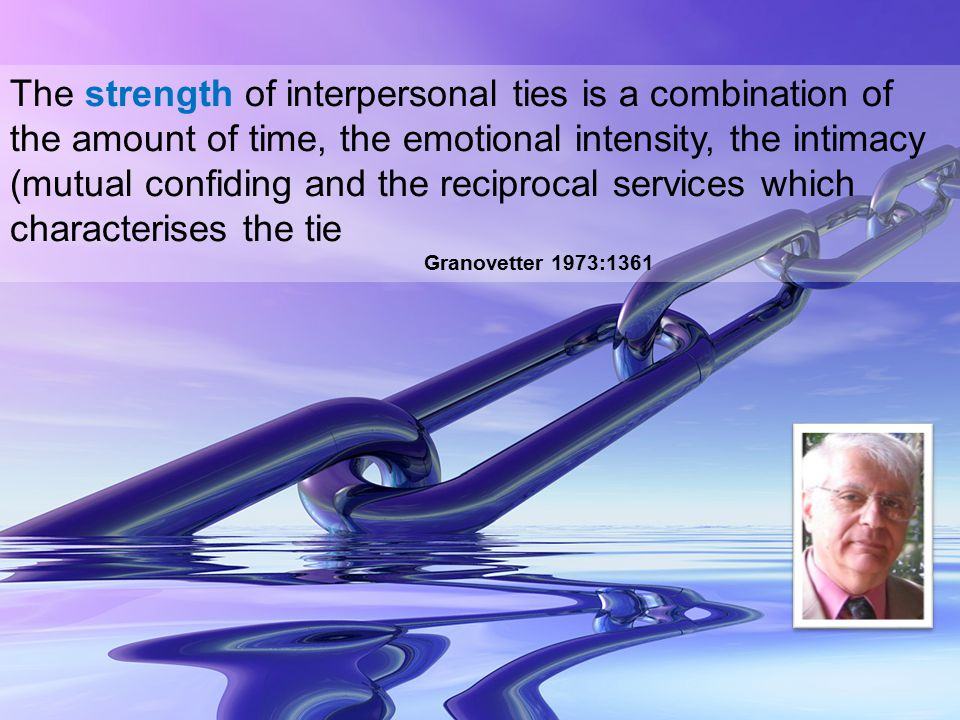 The strength of interpersonal ties is a combination of the amount of time, the emotional intensity, the intimacy (mutual confiding and the reciprocal services which characterises the tie Granovetter 1973:1361