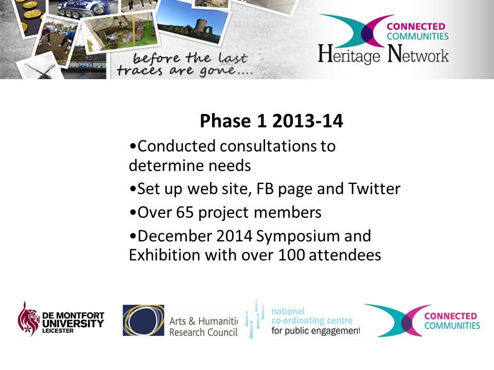 Phase 1 2013-14 Conducted consultations to determine needs Set up web site, FB page and Twitter Over 65 project members December 2014 Symposium and Exhibition with over 100 attendees