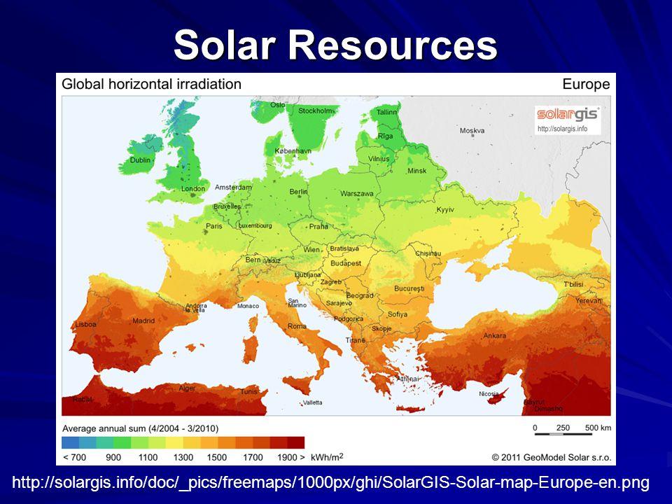 Solar Resources http://solargis.info/doc/_pics/freemaps/1000px/ghi/SolarGIS-Solar-map-Europe-en.png