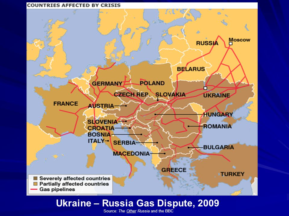 Ukraine – Russia Gas Dispute, 2009 Source: The Other Russia and the BBC