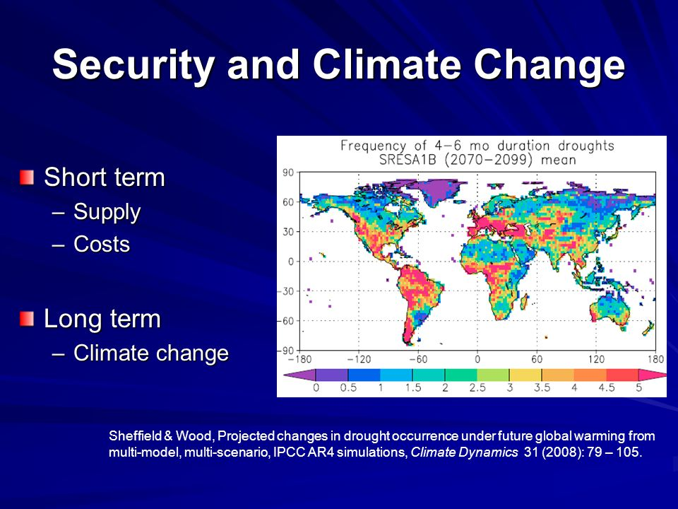 Security and Climate Change Short term –Supply –Costs Long term –Climate change Sheffield & Wood, Projected changes in drought occurrence under future