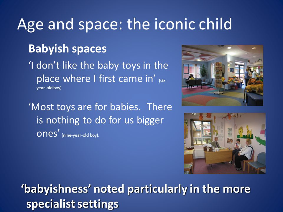 Age and space: the iconic child Babyish spaces 'I don't like the baby toys in the place where I first came in' (six- year-old boy) 'Most toys are for babies.