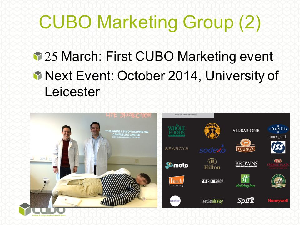 CUBO Marketing Group (2) 25 March: First CUBO Marketing event Next Event: October 2014, University of Leicester