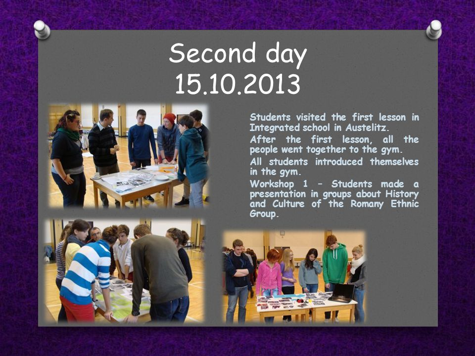 Second day 15.10.2013 Students visited the first lesson in Integrated school in Austelitz.