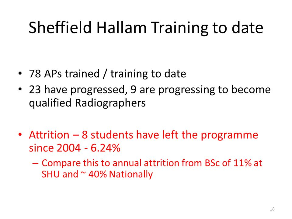 Sheffield Hallam Training to date 78 APs trained / training to date 23 have progressed, 9 are progressing to become qualified Radiographers Attrition – 8 students have left the programme since 2004 - 6.24% – Compare this to annual attrition from BSc of 11% at SHU and ~ 40% Nationally 18
