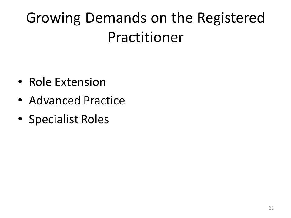 Growing Demands on the Registered Practitioner Role Extension Advanced Practice Specialist Roles 21