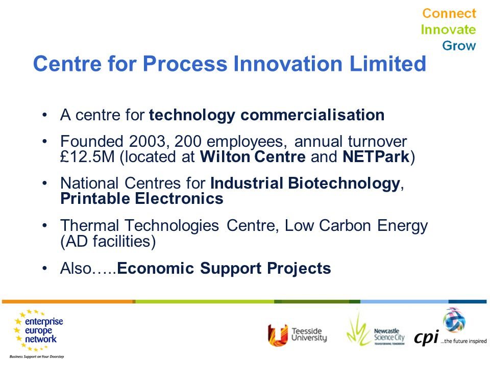 Connect Innovate Grow Centre for Process Innovation Limited A centre for technology commercialisation Founded 2003, 200 employees, annual turnover £12.5M (located at Wilton Centre and NETPark) National Centres for Industrial Biotechnology, Printable Electronics Thermal Technologies Centre, Low Carbon Energy (AD facilities) Also…..Economic Support Projects