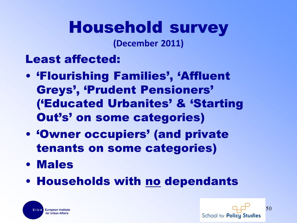 Household survey (December 2011) Least affected: 'Flourishing Families', 'Affluent Greys', 'Prudent Pensioners' ('Educated Urbanites' & 'Starting Out's' on some categories) 'Owner occupiers' (and private tenants on some categories) Males Households with no dependants 50