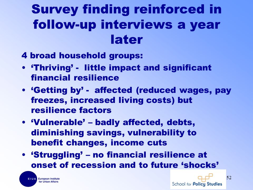 Survey finding reinforced in follow-up interviews a year later 4 broad household groups: 'Thriving' - little impact and significant financial resilience 'Getting by' - affected (reduced wages, pay freezes, increased living costs) but resilience factors 'Vulnerable' – badly affected, debts, diminishing savings, vulnerability to benefit changes, income cuts 'Struggling' – no financial resilience at onset of recession and to future 'shocks' 52