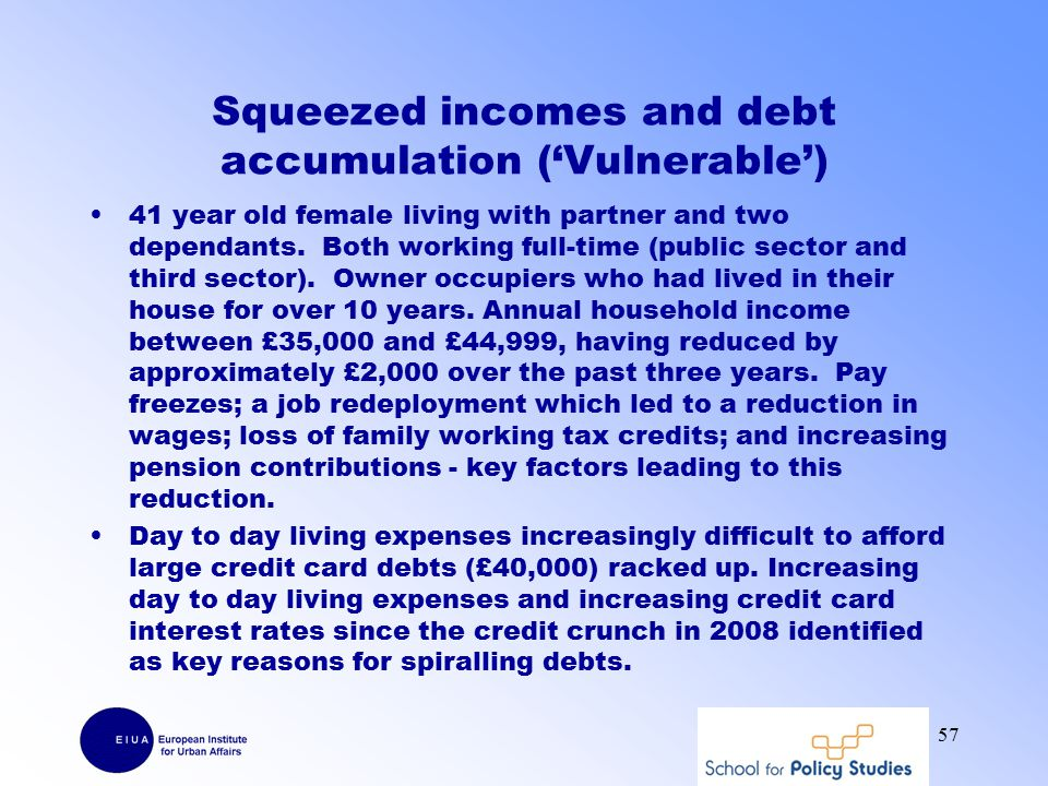 Squeezed incomes and debt accumulation ('Vulnerable') 41 year old female living with partner and two dependants.