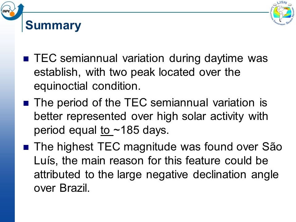 Summary TEC semiannual variation during daytime was establish, with two peak located over the equinoctial condition.