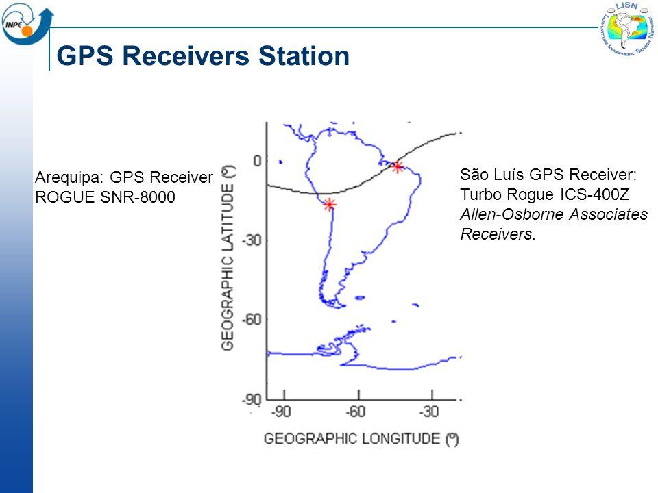 GPS Receivers Station Arequipa: GPS Receiver ROGUE SNR-8000 São Luís GPS Receiver: Turbo Rogue ICS-400Z Allen-Osborne Associates Receivers.