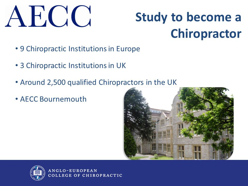 9 Chiropractic Institutions in Europe 3 Chiropractic Institutions in UK Around 2,500 qualified Chiropractors in the UK AECC Bournemouth Study to becom