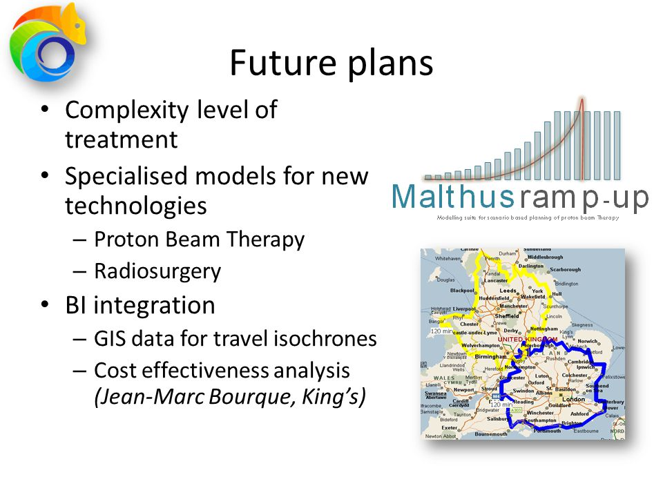 Future plans Complexity level of treatment Specialised models for new technologies – Proton Beam Therapy – Radiosurgery BI integration – GIS data for
