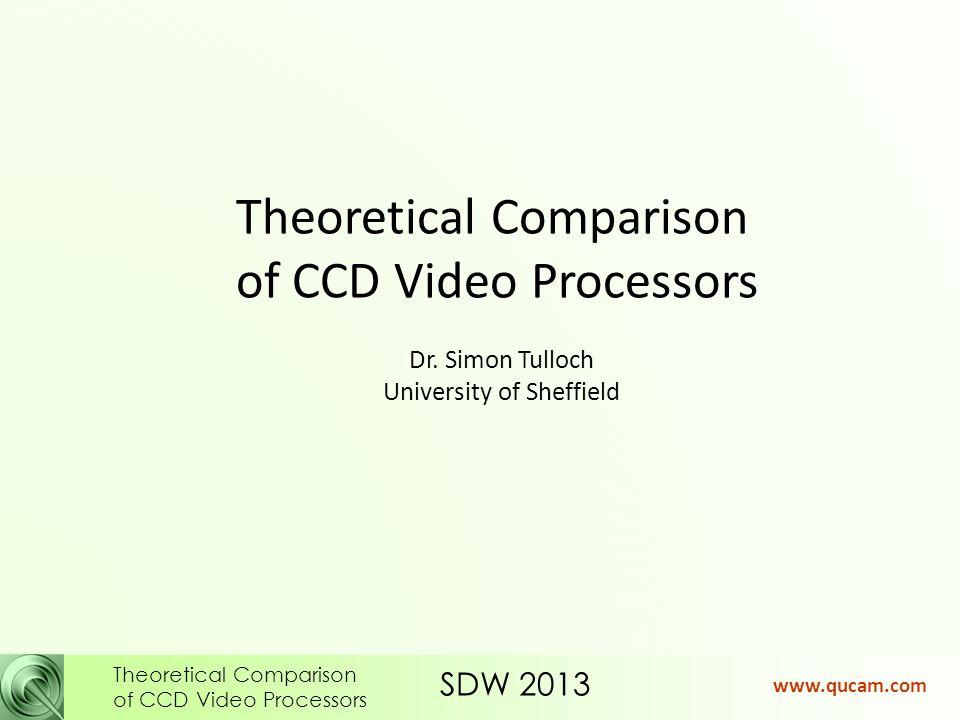 SDW 2013 Theoretical Comparison of CCD Video Processors www.qucam.com f ADC = 10.