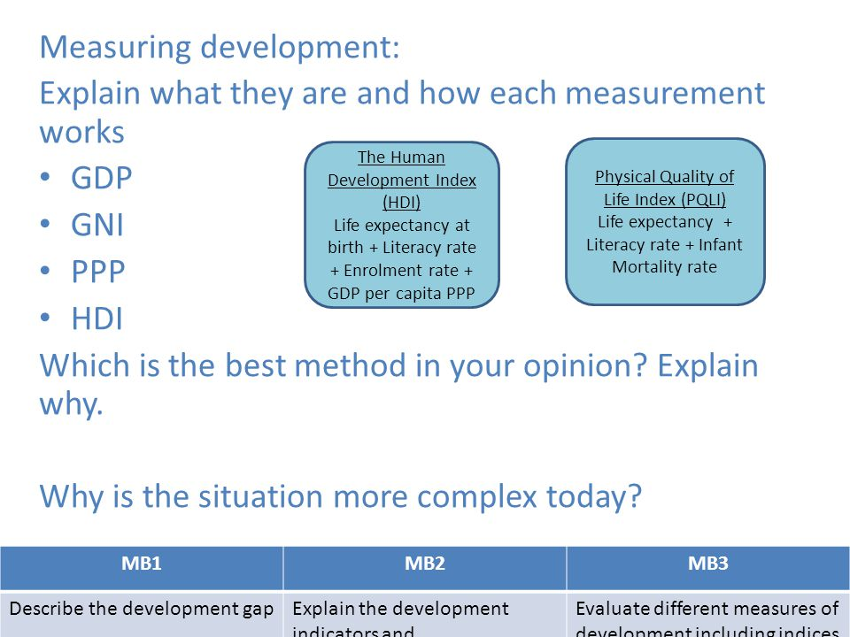 MB1MB2MB3 Describe the development gapExplain the development indicators and Evaluate different measures of development including indices Measuring de