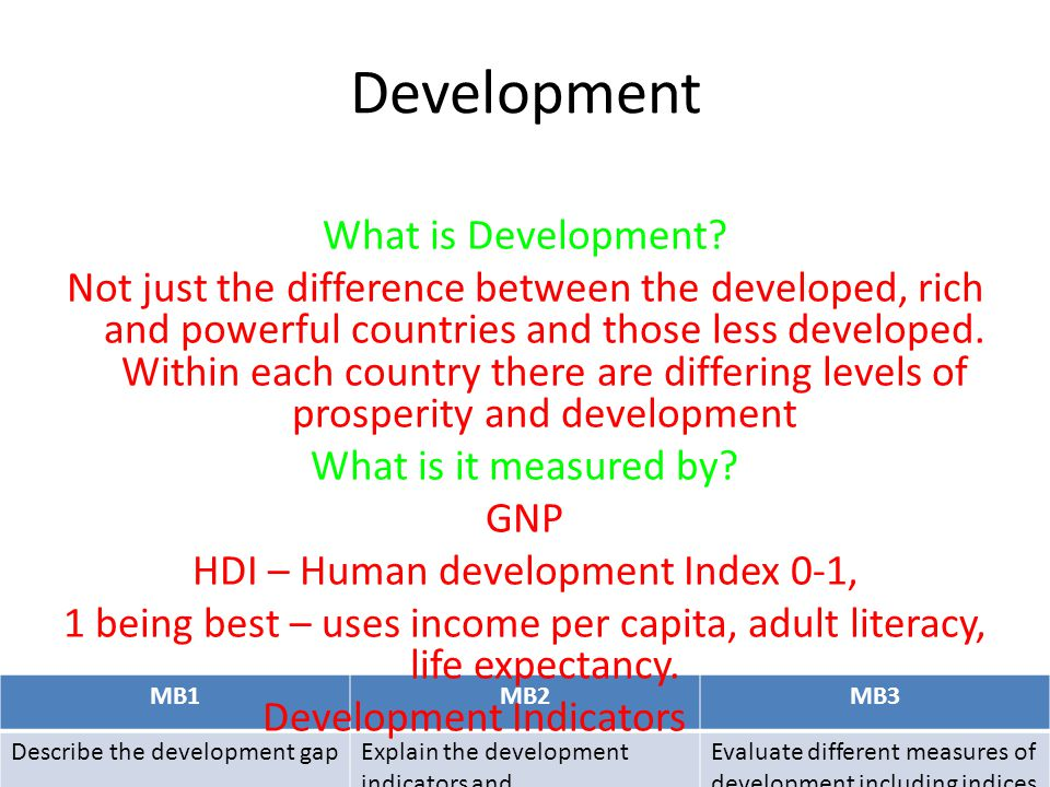 MB1MB2MB3 Describe the development gapExplain the development indicators and Evaluate different measures of development including indices Explaining development Do you remember the food crisis of 2008?