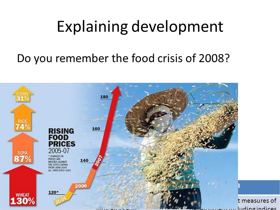 MB1MB2MB3 Describe the development gapExplain the development indicators and Evaluate different measures of development including indices Explaining development Do you remember the food crisis of 2008.