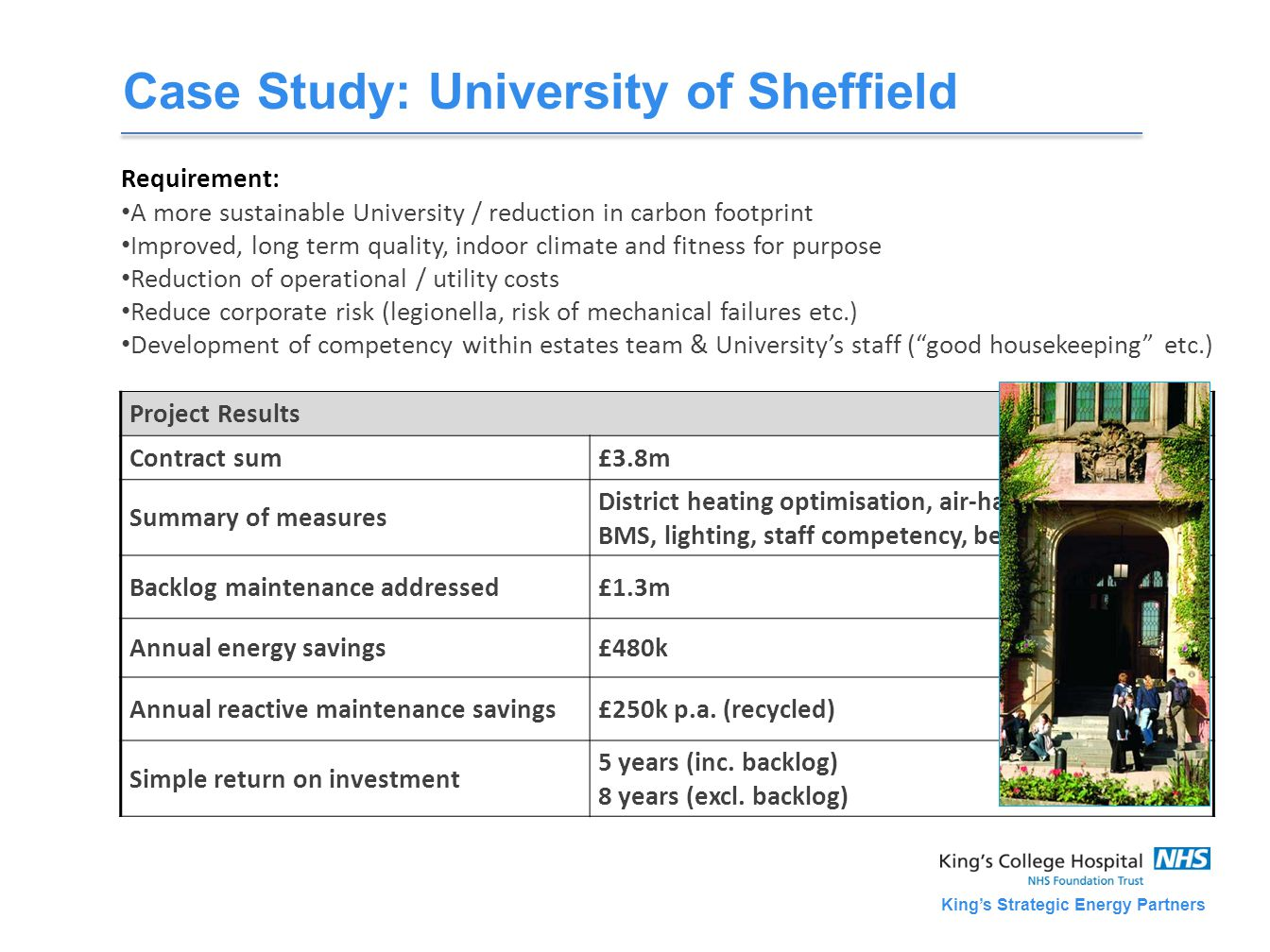 King's Strategic Energy Partners Case Study: University of Sheffield Requirement: A more sustainable University / reduction in carbon footprint Improved, long term quality, indoor climate and fitness for purpose Reduction of operational / utility costs Reduce corporate risk (legionella, risk of mechanical failures etc.) Development of competency within estates team & University's staff ( good housekeeping etc.) Project Results Contract sum£3.8m Summary of measures District heating optimisation, air-handling units, BMS, lighting, staff competency, behaviour-change Backlog maintenance addressed£1.3m Annual energy savings£480k Annual reactive maintenance savings£250k p.a.
