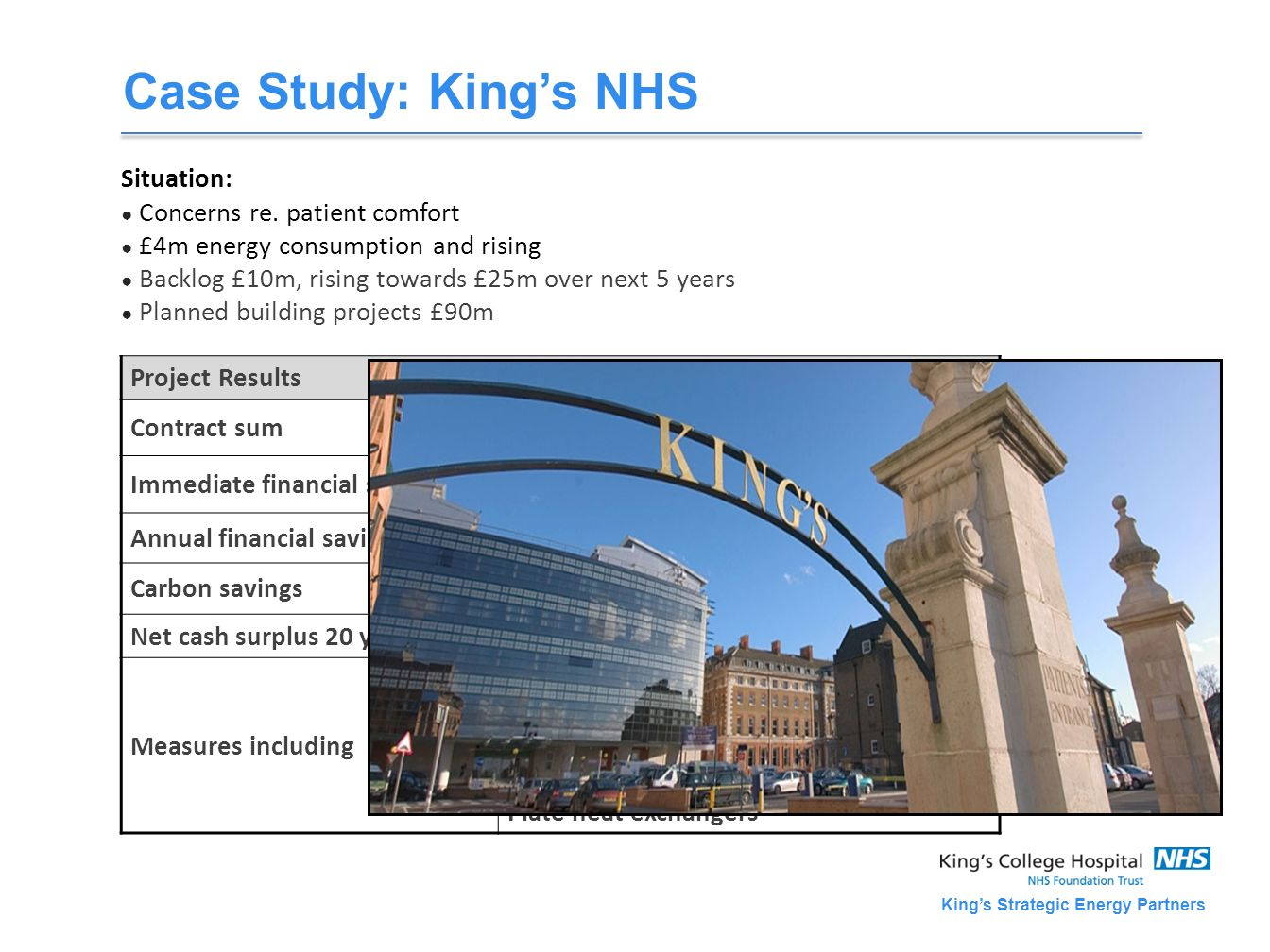 King's Strategic Energy Partners Case Study: King's NHS Situation: ● Concerns re.
