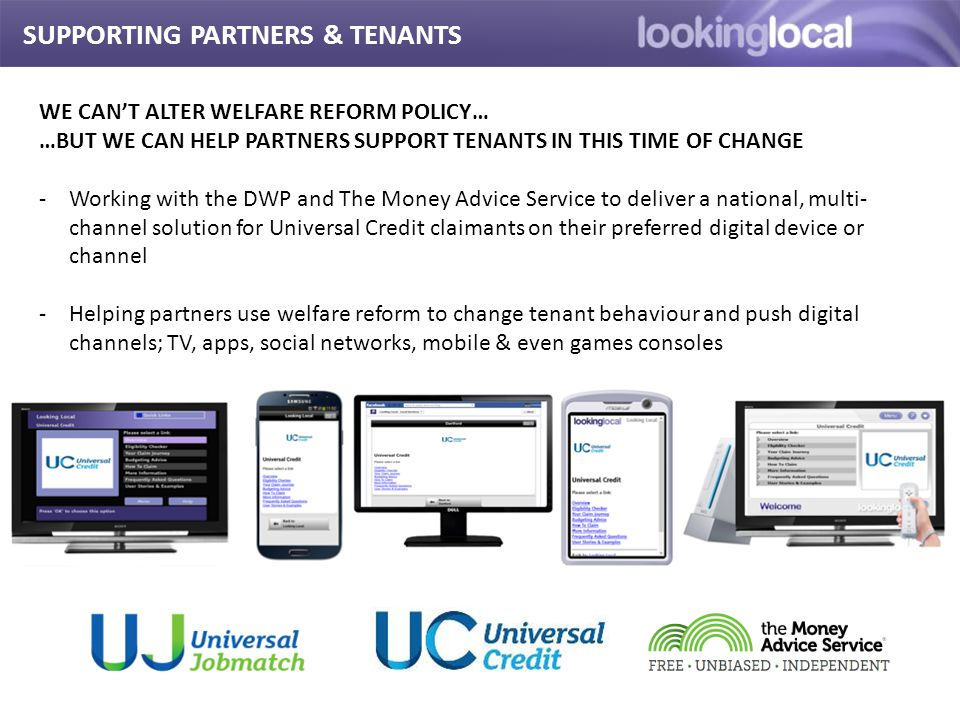 It is… SUPPORTING PARTNERS & TENANTS WE CAN'T ALTER WELFARE REFORM POLICY… …BUT WE CAN HELP PARTNERS SUPPORT TENANTS IN THIS TIME OF CHANGE -Working w