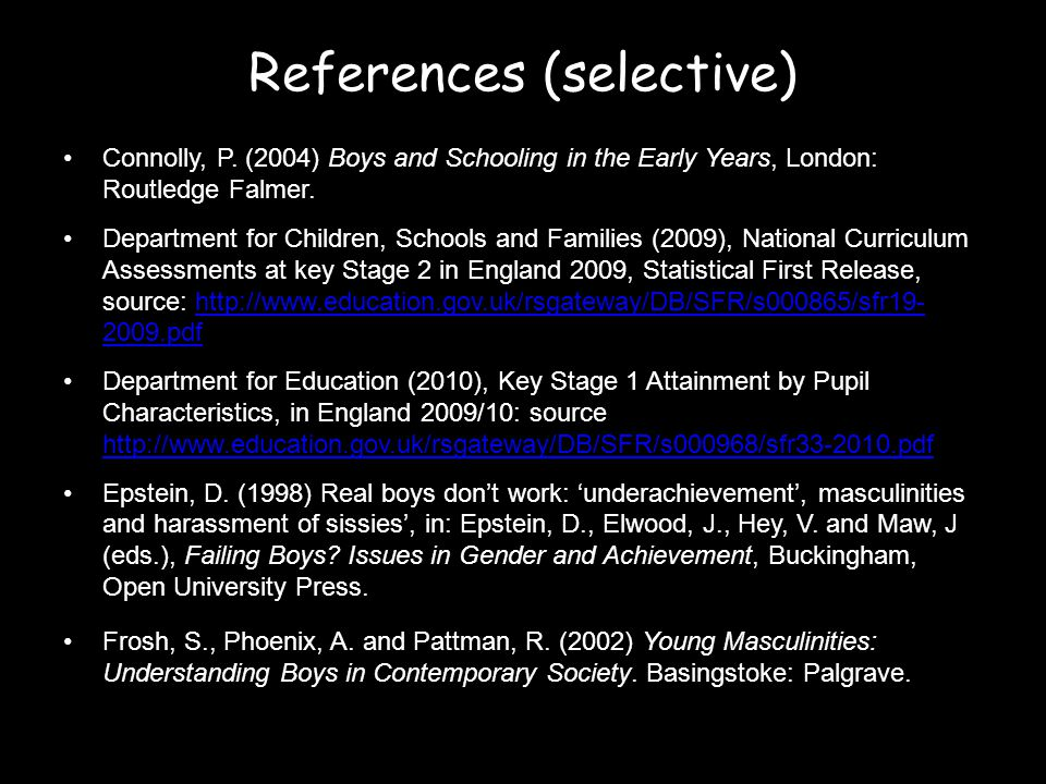 References (selective) Connolly, P.