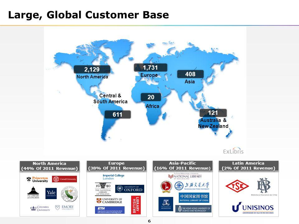 6 Latin America (2% Of 2011 Revenue) Latin America (2% Of 2011 Revenue) Europe (38% Of 2011 Revenue) Europe (38% Of 2011 Revenue) Asia-Pacific (16% Of 2011 Revenue ) Asia-Pacific (16% Of 2011 Revenue ) North America (44% Of 2011 Revenue) North America (44% Of 2011 Revenue) Large, Global Customer Base North America Australia & New Zealand Central & South America Europe Africa Asia 2,129 121 20 611 1,731 408