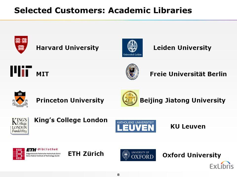 8 Selected Customers: Academic Libraries Harvard University Leiden University MIT Freie Universität Berlin Princeton University Beijing Jiatong University King's College London ETH Zürich Oxford University KU Leuven