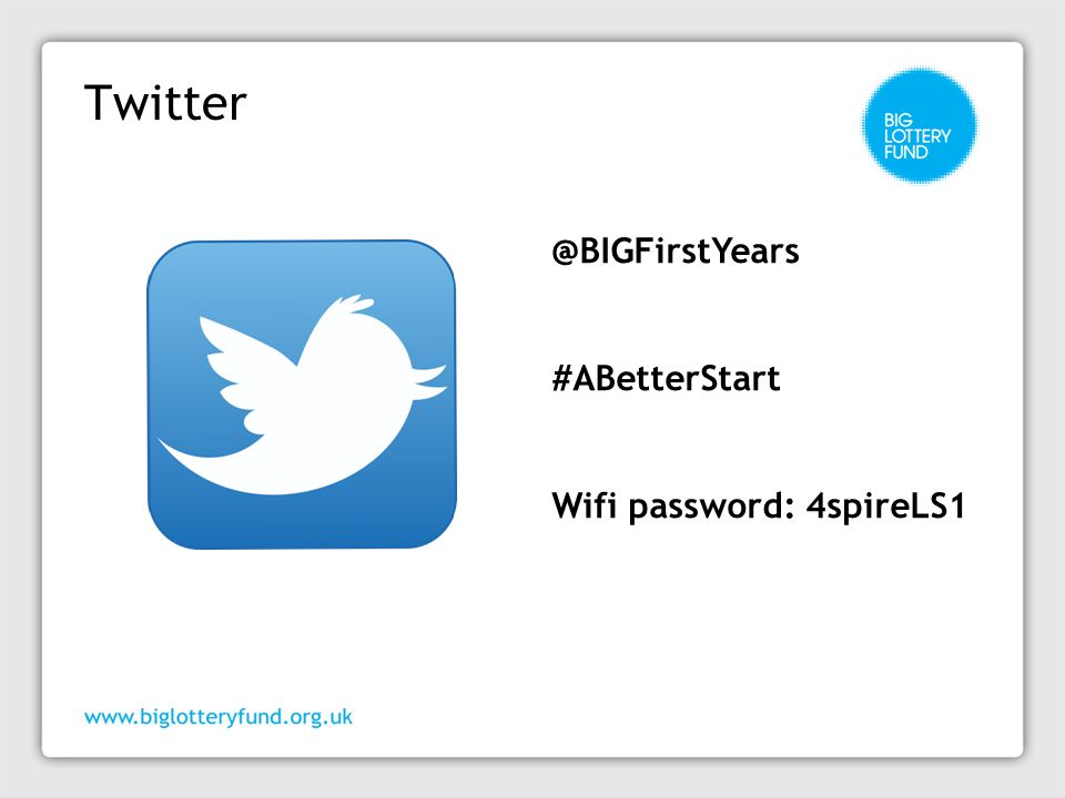 Twitter @BIGFirstYears #ABetterStart Wifi password: 4spireLS1