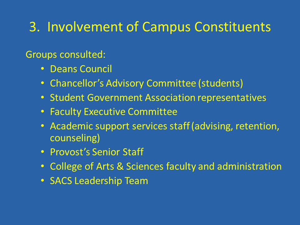 3. Involvement of Campus Constituents Groups consulted: Deans Council Chancellor's Advisory Committee (students) Student Government Association repres