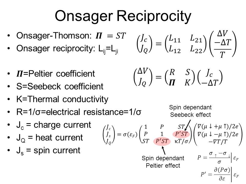 Onsager Reciprocity Spin dependant Seebeck effect Spin dependant Peltier effect