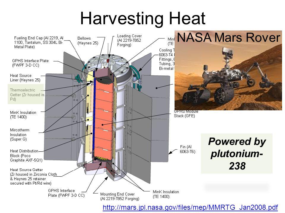 Harvesting Heat Powered by plutonium- 238 http://mars.jpl.nasa.gov/files/mep/MMRTG_Jan2008.pdf NASA Mars Rover