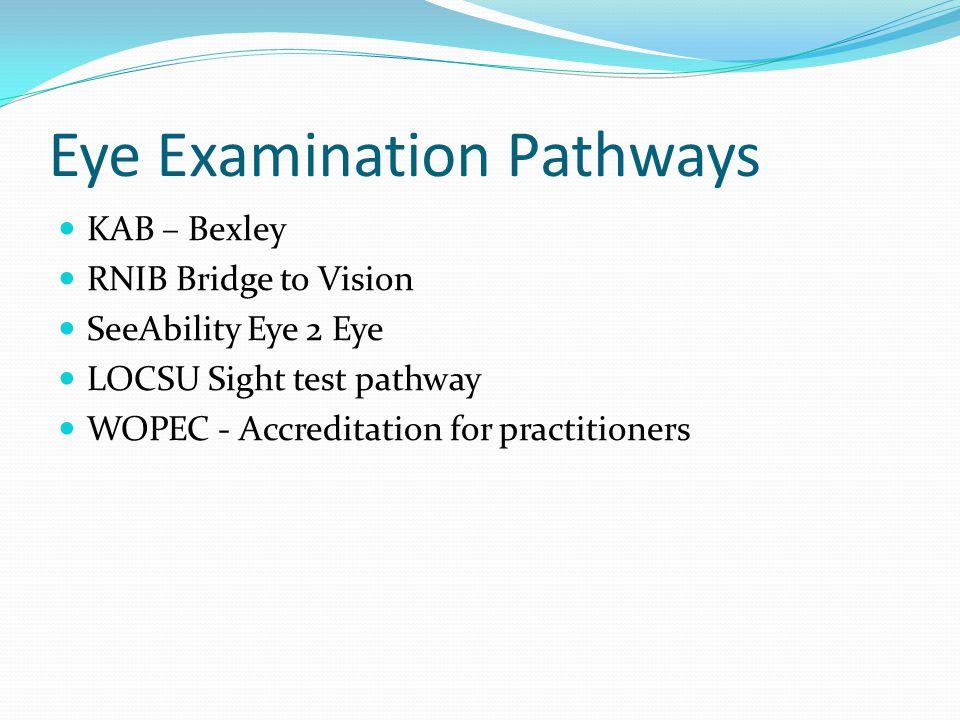 Eye Examination Pathways KAB – Bexley RNIB Bridge to Vision SeeAbility Eye 2 Eye LOCSU Sight test pathway WOPEC - Accreditation for practitioners